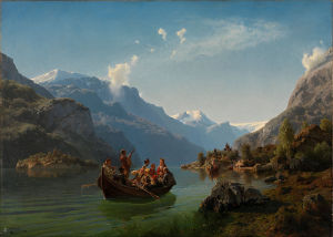 Adolph_Tidemand_&_Hans_Gude_-_Bridal_Procession_on_the_Hardangerfjord_-_Google_Art_Project